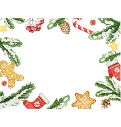 watercolor christmas frame with fir vector image vector image