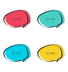 Set hand drawn speech bubble vector image