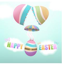 easter egg parachuting from broken egg vector image