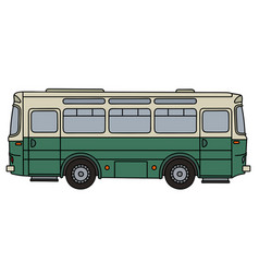 Old green and cream bus vector