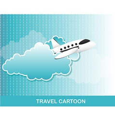 Airplane with clouds cartoon background vector