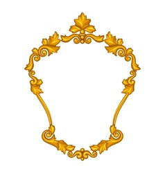 Baroque ornamental antique gold frame on white vector image