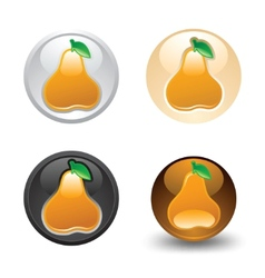 Pear button set web 20 icons vector