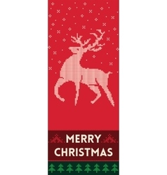 Merry christmas banner with reindeer in knitted vector