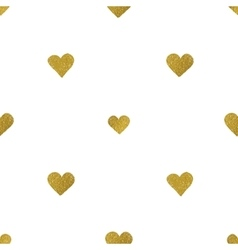 Gold hearts on white background seamless pattern vector