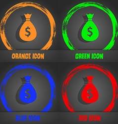 Dollar money bag icon fashionable modern style in vector