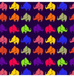 Abstract seamless pattern with elephants on violet vector