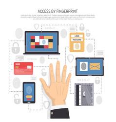 access by fingerprint flat vector image