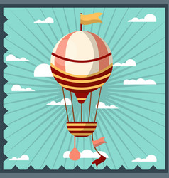 Airballoon isolated in sky colorful card with vector