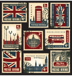British postage stamps vector image vector image