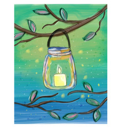 candle in the mason jar watercolor doodle vector image