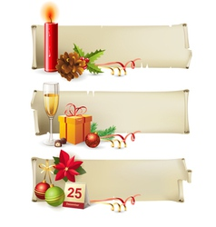 Christmas paper banners vector