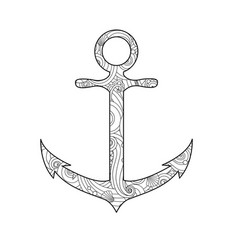 Coloring page with anchor isolated on white vector