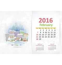 Cute sweet cityscape calendar for 2016 February vector image