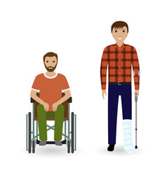 Disability people concept two invalid men with vector