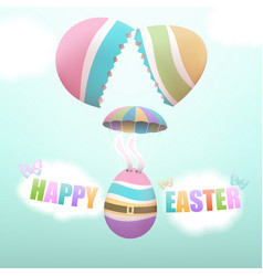 Easter egg parachuting from broken egg vector