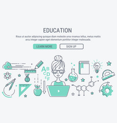education and learning line art modern vector image vector image
