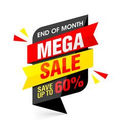 end of month mega sale banner vector image vector image