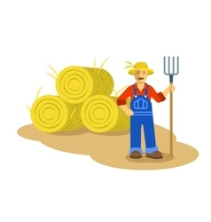 Farmer man standing with pitchfork vector