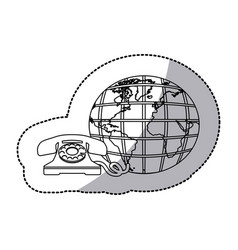 Figure symbol global communication telephone icon vector