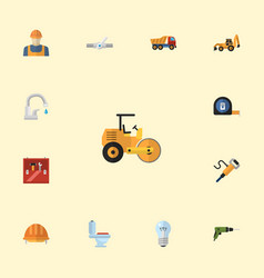 flat icons excavator faucet worker and other vector image vector image
