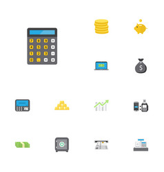 flat icons strongbox accounting atm and other vector image vector image