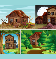 four scenes with old houses in the field vector image vector image