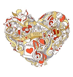 Gold red and white heart vector image vector image