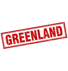 Greenland red square grunge stamp on white vector