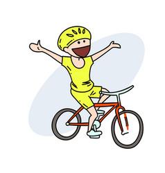 happy biker hand drawn image vector image