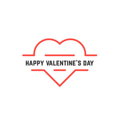 happy valentine day with thin line heart vector image