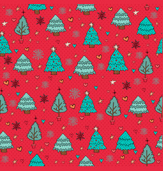 merry christmas pine tree winter doodle background vector image vector image