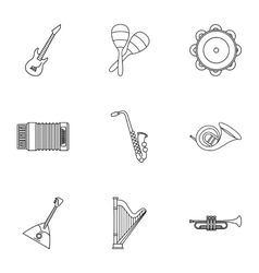 Musical tools icons set outline style vector image