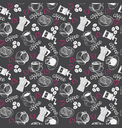 pattern with sketch of coffee theme vector image vector image