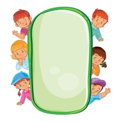 Poster with young children looking out of frame vector