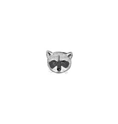 Raccoon head front drawing vector