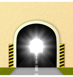Road tunnel the glare of headlights vector