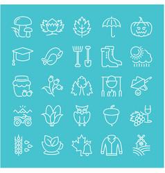 Set flat line icons autumn vector
