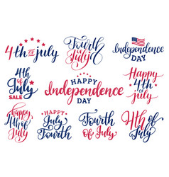 set fourth of july hand lettering vector image vector image