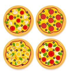 set of pizzas vector image vector image