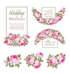 Set of wedding invitation card the rose elegant vector