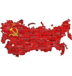 Soviet union map on a brick wall vector