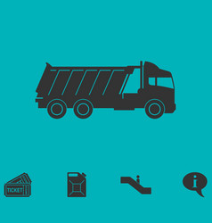 tipper truck icon flat vector image vector image