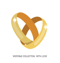 wedding rings heart vector image