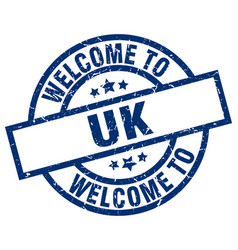 welcome to uk blue stamp vector image vector image