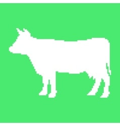 white cow in pixel art vector image