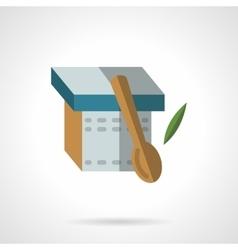 Yogurt and spoon flat icon vector image vector image