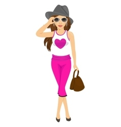 young stylish woman posing with sunglasses vector image vector image