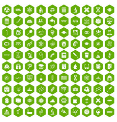 100 microscope icons hexagon green vector