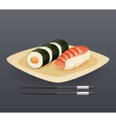 Realistic sushi roll plate sticks fast food icon vector